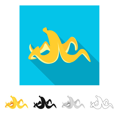 Isolated object of banana and peel sign. Set of banana and fruit vector icon for stock. Illustration