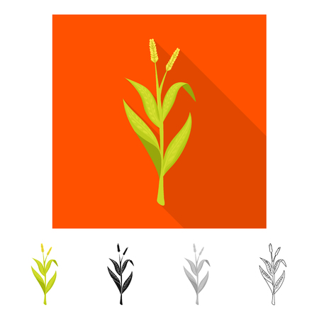 Vector illustration of sweet and corn sign. Collection of sweet and botanical stock symbol for web. Ilustração