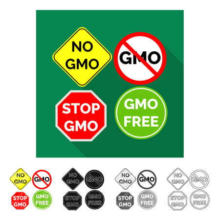 Vector design of gmo and logo logo. Collection of gmo and label stock symbol for web.