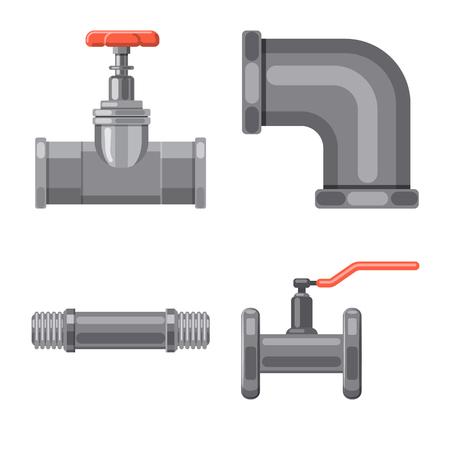 Diseño vectorial de símbolo de tubería y tubo. Colección de símbolo de stock de tuberías y tuberías para web. Ilustración de vector