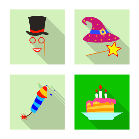 Vector design of party and birthday icon. Collection of party and celebration vector icon for stock. Çizim
