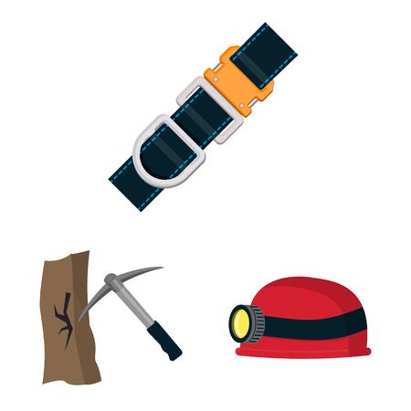 Objeto aislado de montañismo y logotipo de pico. Colección de montañismo y campamento ilustración vectorial de stock.