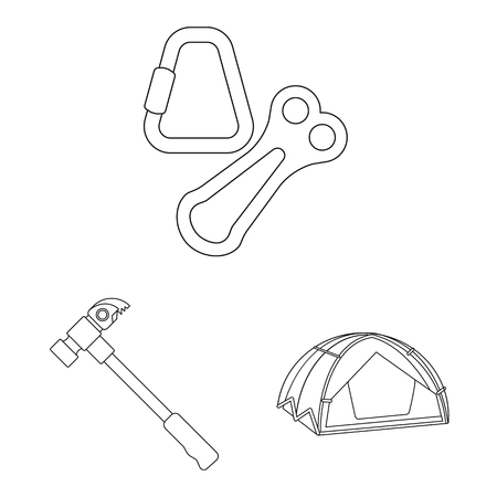 Vector illustration of mountaineering and peak sign. Collection of mountaineering and camp vector icon for stock.