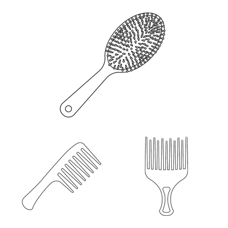 Vector illustration of brush and hair logo. Collection of brush and hairbrush vector icon for stock.