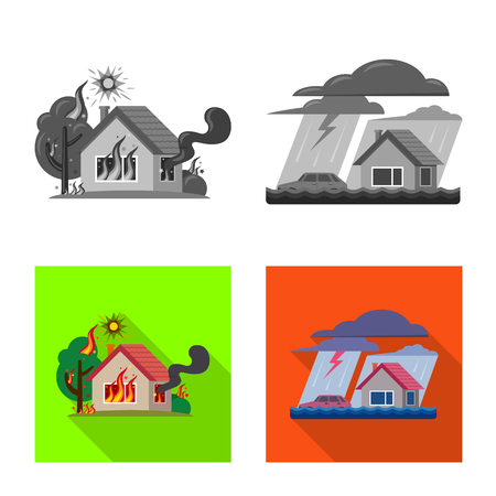 Vector design of natural and disaster. Collection of natural and risk stock symbol for web. Ilustrace