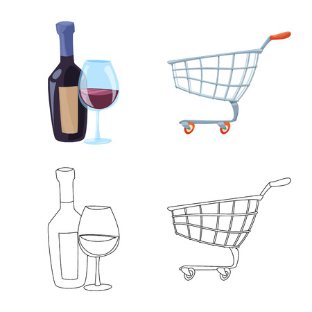 Isolated object of food and drink logo. Set of food and store stock symbol for web.