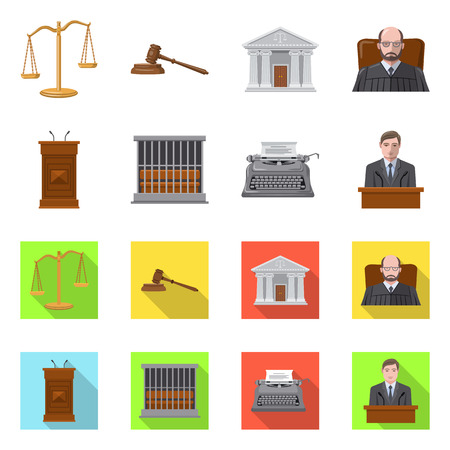 Vector illustration of law and lawyer. Set of law and justice vector icon for stock.