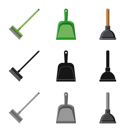 Vector illustration of cleaning and service sign. Set of cleaning and household stock symbol for web.
