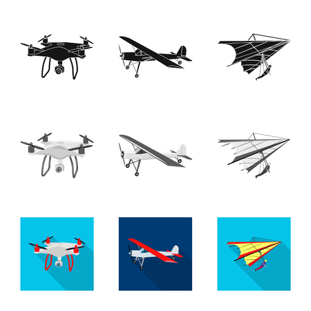 Vector design of plane and transport. Collection of plane and sky vector icon for stock.