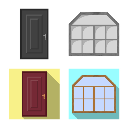 Isolated object of door and front icon. Collection of door and wooden vector icon for stock. 矢量图像