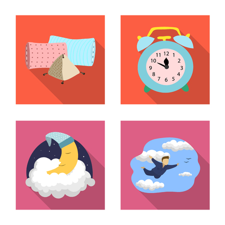 Vector illustration of dreams and night logo. Set of dreams and bedroom stock vector illustration.