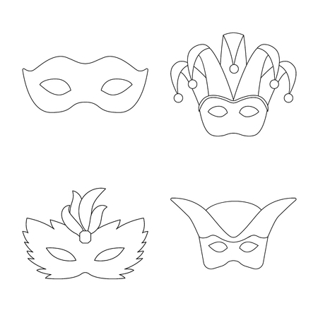 Vector illustration of masquerade  and mystery symbol. Collection of masquerade  and festival stock vector illustration.