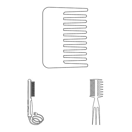 Vector illustration of brush and hair icon. Set of brush and hairbrush stock symbol for web. 矢量图像
