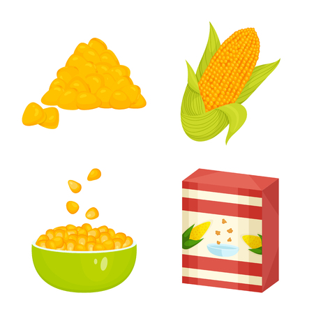 Isolated object of maize and food symbol. Collection of maize and crop stock vector illustration.
