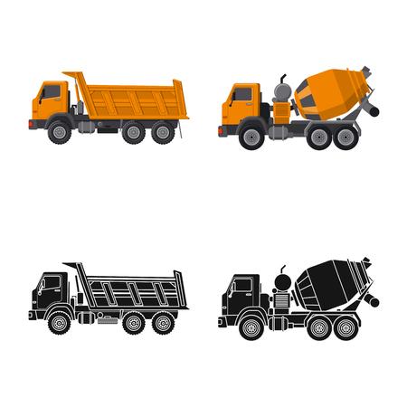 Illustrazione vettoriale del logo di costruzione e costruzione. Insieme di simbolo di borsa build e macchinari per il web.