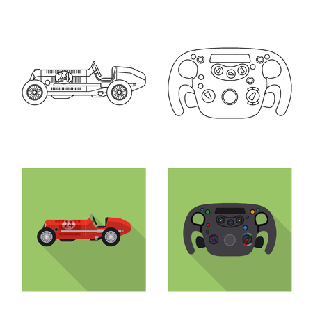 Vector design of car and rally logo. Collection of car and race vector icon for stock.  イラスト・ベクター素材