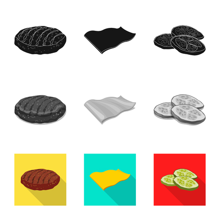 Vector illustration of burger and sandwich symbol. Set of burger and slice vector icon for stock. Zdjęcie Seryjne - 123449815