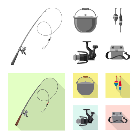 Vector illustration of fish and fishing icon. Set of fish and equipment stock symbol for web.