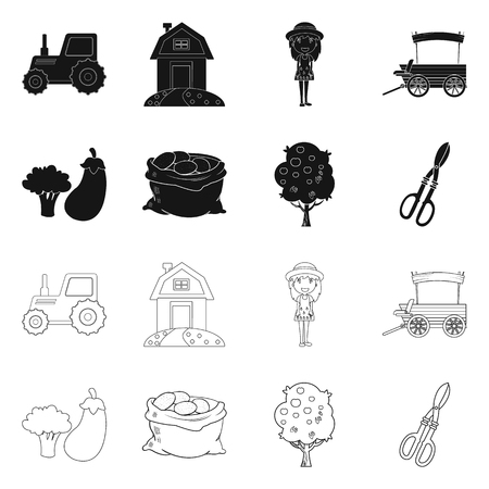 Vector design of farm and agriculture symbol. Collection of farm and plant stock symbol for web. Illustration