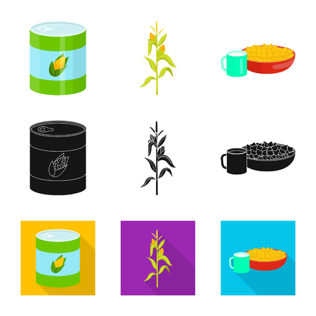 Isolated object of cornfield and vegetable sign. Set of cornfield and vegetarian stock vector illustration. Çizim