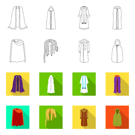 Isolated object of material and clothing icon. Collection of material and garment stock symbol for web.