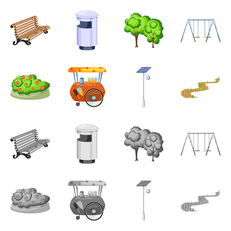 Isolated object of urban and street sign. Set of urban and relaxation vector icon for stock.