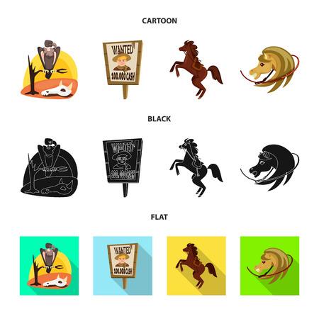 Objeto aislado de texas y signo de historia. Colección de iconos vectoriales de texas y cultura para stock. Ilustración de vector