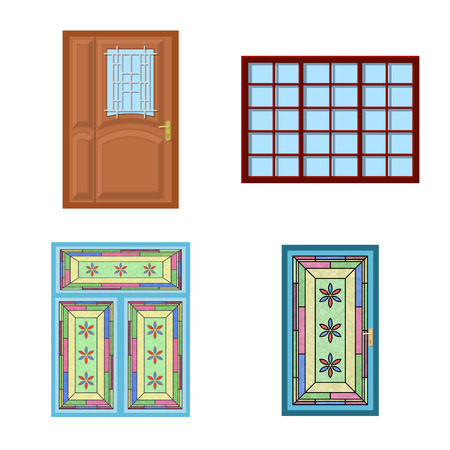 Vector design of door and front icon. Collection of door and wooden stock vector illustration.