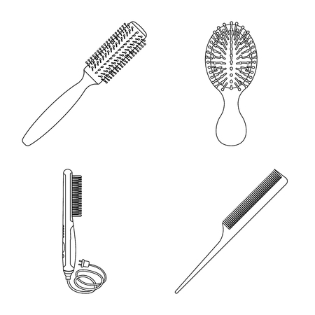 Vector illustration of brush and hair logo. Collection of brush and hairbrush stock symbol for web. Illustration