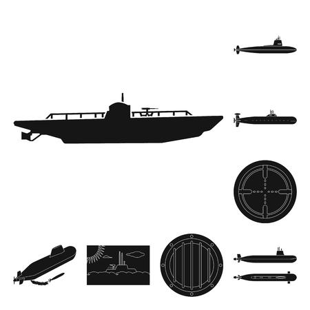 Vector illustration of technology and fleet logo. Collection of technology and navy vector icon for stock.