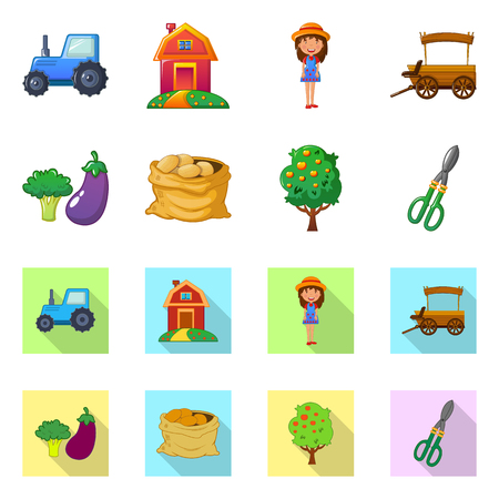 Vector illustration of farm and agriculture icon. Collection of farm and plant stock vector illustration. Illustration