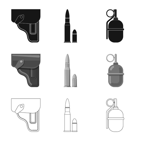 Vector illustration of weapon and gun logo. Set of weapon and army stock vector illustration.