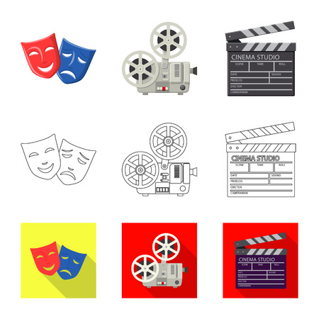 Vector design of television and filming icon. Set of television and viewing vector icon for stock.