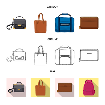 Vector illustration of suitcase and baggage sign. Collection of suitcase and journey stock symbol for web. 일러스트