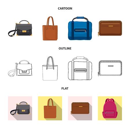 Vektor-Illustration von Koffer- und Gepäckzeichen. Sammlung von Koffer- und Reiseaktiensymbolen für das Web.