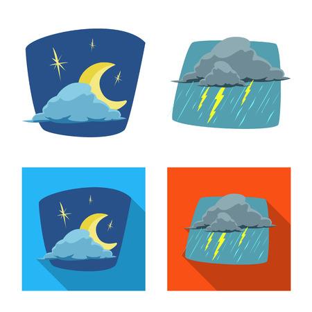 Vector illustration of weather and climate logo. Collection of weather and cloud stock vector illustration. Ilustração