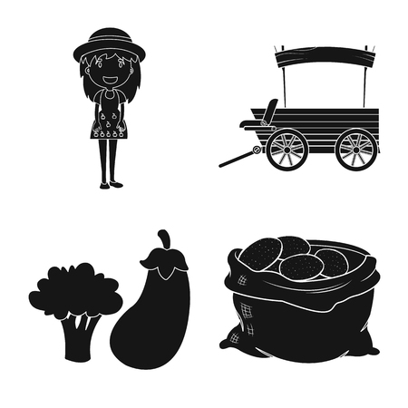 Isolated object of farm and agriculture symbol. Set of farm and plant stock vector illustration. Illustration