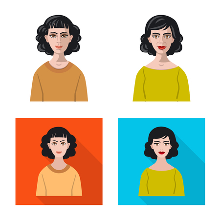 Isolated object of hairstyle and profession  sign. Collection of hairstyle and character  stock symbol for web. Çizim