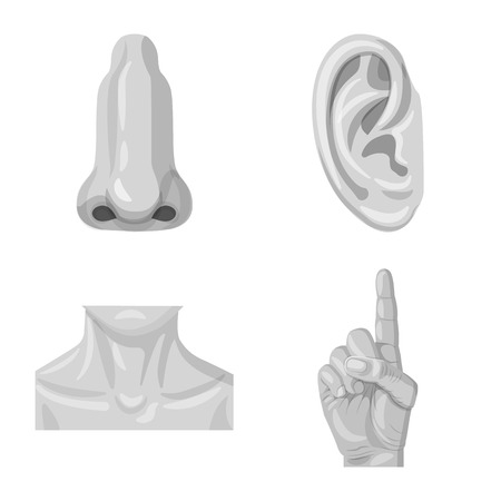 Vector illustration of human and part symbol. Collection of human and woman stock symbol for web. Illustration