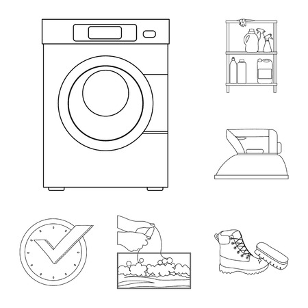 Vector design of laundry and clean sign. Set of laundry and clothes vector icon for stock. Çizim