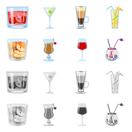 Vector illustration of liquor and restaurant logo. Set of liquor and ingredient vector icon for stock. Illustration