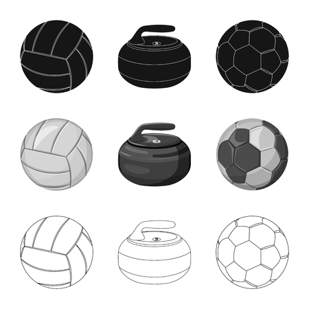 Vector design of sport and ball logo. Set of sport and athletic stock vector illustration. 矢量图像