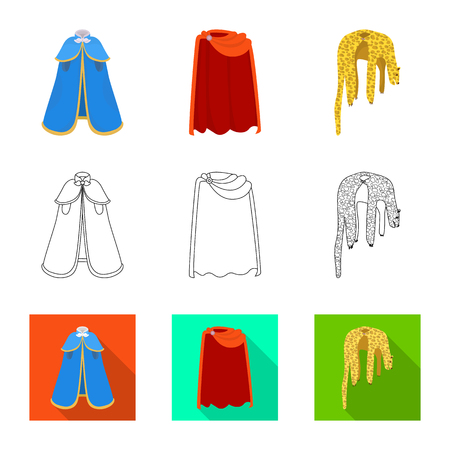 Vector illustration of material and clothing sign. Set of material and garment vector icon for stock. 向量圖像