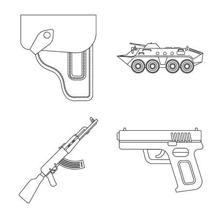 Isolated object of weapon and gun logo. Collection of weapon and army stock symbol for web.