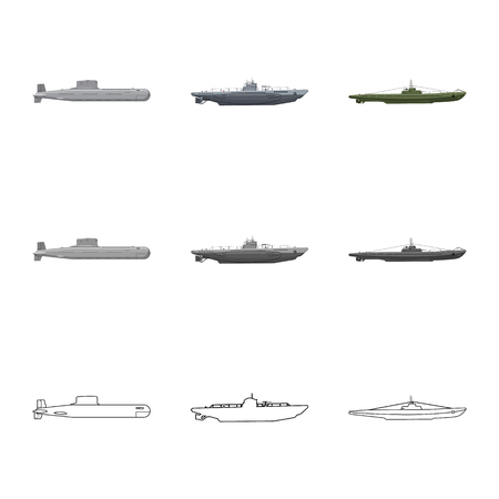 Isolated object of war  and ship logo. Collection of war  and fleet stock vector illustration.