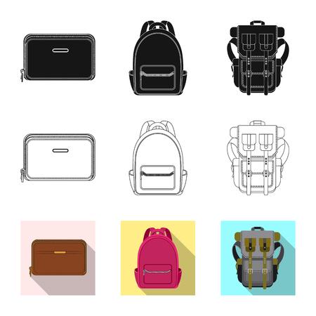 Vector design of suitcase and baggage symbol. Collection of suitcase and journey stock symbol for web. Vettoriali