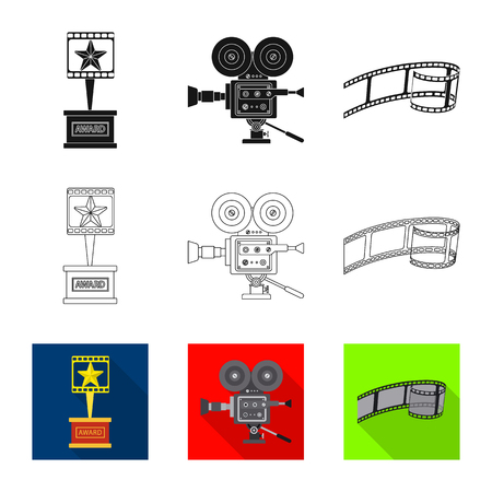 Isolated object of television and filming symbol. Set of television and viewing vector icon for stock.