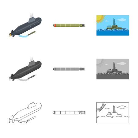 Vector illustration of war and ship sign. Collection of war and fleet stock vector illustration.