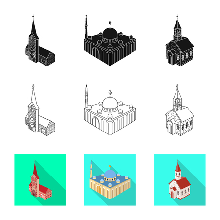 Isolated object of temple and historic symbol. Set of temple and faith vector icon for stock. 向量圖像
