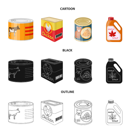 Vector illustration of can and food symbol. Set of can and package vector icon for stock. Ilustrace